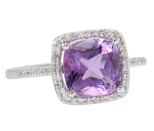 Passion - Amethyst Diamond Halo Ring