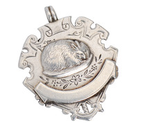 Antique Silver Rabbit Pendant of 1894