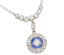 Diamond Sapphire Halo Pendant of Platinum