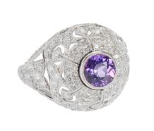 Purple Sapphire Diamond Dome Ring
