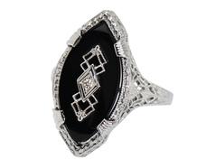 Art Deco Geometrics - Onyx Sapphire Ring