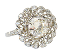 Open Blossom - Diamond Platinum Ring 1.2 C