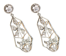 Edwardian Flowering - Diamond Dangle Earrings