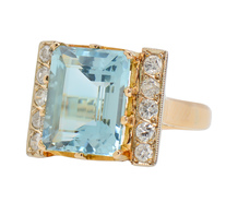 Voluptuous Aquamarine Diamond Statement Ring