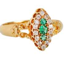 Antique Emerald Diamond Ring Dated 1899