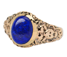 Leonine Antique Man's Lapis Lazuli Ring of 1917