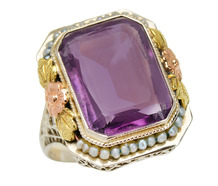 Art Deco Amethyst Pearl Ring