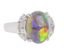 Australian Black Opal Diamond Ring