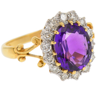 Bow to Victoria - Amethyst Diamond Halo Ring