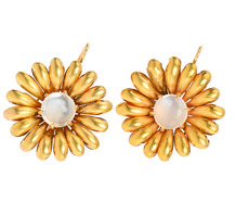 Golden Blossoms - Moonstone Earrings