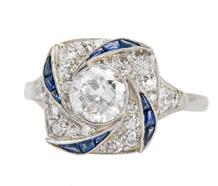 Swirls & Ebbs - Diamond Sapphire Ring