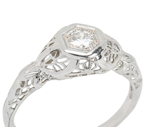 Art Deco Diamond Filigree Engagement Ring