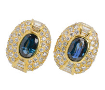 Solar Eclipse - Sapphire Diamond Earrings