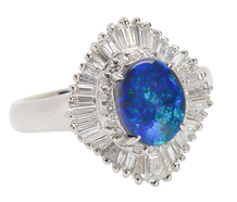 Black Opal Diamond Ballerina Estate Ring