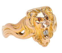 Lion Head Diamond Locket Ring