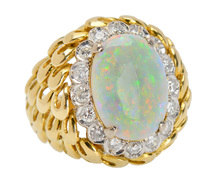 Blossom Perfect - Opal Diamond Halo Ring