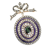 Vintage Neoclassical Green Sapphire Pendant
