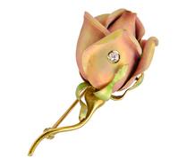 Rose Bud Art Nouveau Enamel Brooch