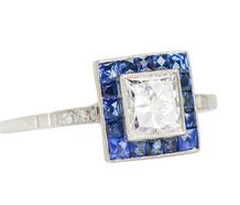 Sapphire & Diamond Square Halo Ring