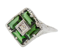 Art Deco Filigree Peridot Ring