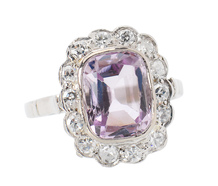 Feminine Flair - Pink Topaz Halo Ring