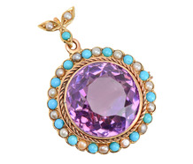 Antique Amethyst Turquoise Pearl Pendant