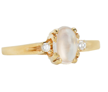 Moonstone & Diamonds Vintage Ring