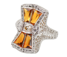 Art Deco Citrine Diamond Dinner Ring