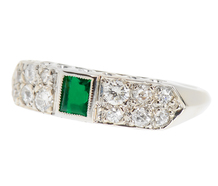 Art Deco Emerald Diamond Wedding Band