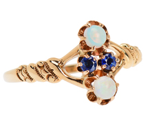 Early 20th C. Opal Sapphire Ring