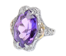 Grand Amethyst Art Deco Filigree Ring