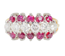 Three Row Ruby Diamond Anniversary Band
