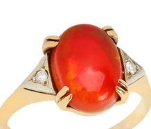 Caliente - Mexican Fire Opal Diamond Ring
