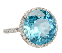 Evermore - Blue Topaz Diamond Halo Ring