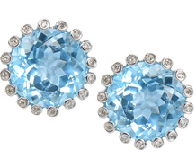 Caribbean Sea - Blue Topaz Diamond Earrings