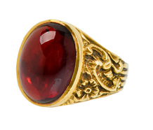 Commanding Gentleman's Garnet Ring