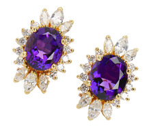 Star Burst - Amethyst Diamond Earrings
