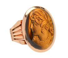 Victorian Tiger's Eye Cameo Rose Gold Ring