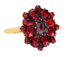 Victorian Bohemian Garnet Cluster Ring