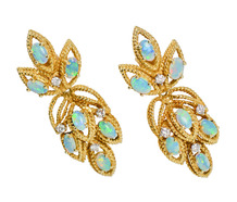 Day Night Estate Opal Drop Earrings