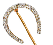 Edwardian Diamond Horseshoe Stickpin Brooch