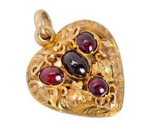 Victorian Garnet Heart Locket Pendant