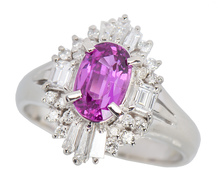 Hot Pink Sapphire Diamond Estate Ring