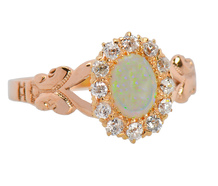 Antique Opal Diamond Halo Ring