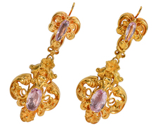 Georgian Pink Topaz Earrings