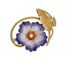 Enamel & Three Color Gold Flower Brooch