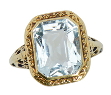 Swirling Art Deco Aquamarine Ring