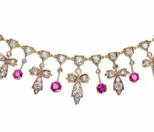 Antique Victorian Ruby & Diamond Necklace