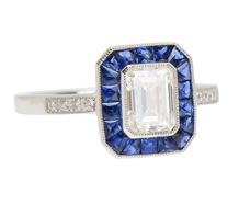 A Classic - Diamond Sapphire Engagement  Ring