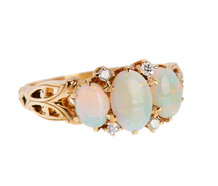 Vintage Glow - Opal Diamond Ring